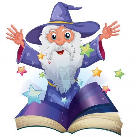 Illustration pour Illustration d'un livre avec une image d'un vieil homme avec de nombreuses étoiles sur fond blanc - image libre de droit