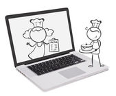 Illustration of a laptop with an image of chefs on a white background