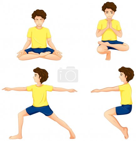 A man performing the different yoga positions