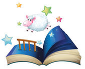 Illustration of a book with a sheep jumping on a white background