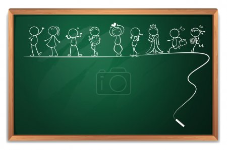 Illustration for Illustration of a blackboard with a doodle art on a white background - Royalty Free Image