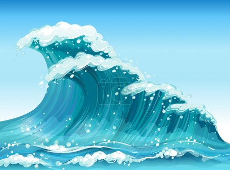 Illustration for Illustration of the big waves - Royalty Free Image