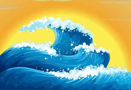 Illustration for Illustration of the waves and the sun - Royalty Free Image