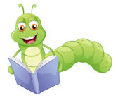 A smiling worm reading