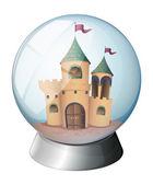 A castle inside a glass dome