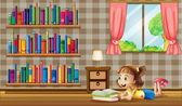 Ein Mädchen, das Lesen von Büchern in der Nähe der Fenster