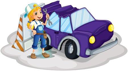 A girl fixing the broken violet car