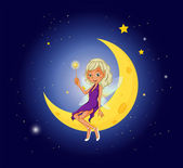 A fairy holding a wand sitting at the moon