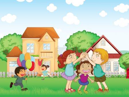 Illustration pour Illustration des enfants jouant à l'extérieur - image libre de droit