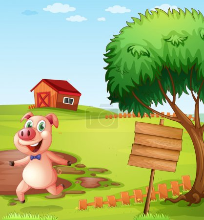 A pig in the farm near the empty signboard
