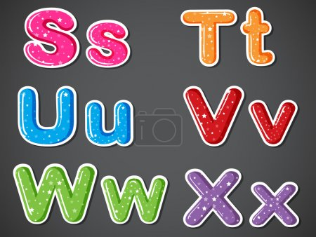 Six colorful letters of the alphabet