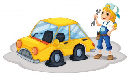 A girl repairing a yellow car with flat tires