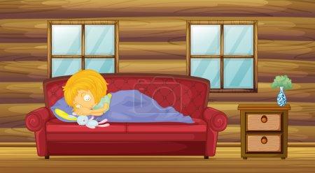 Ilustración de Ilustración de una niña durmiendo en el sofá con un juguete de cosas - Imagen libre de derechos