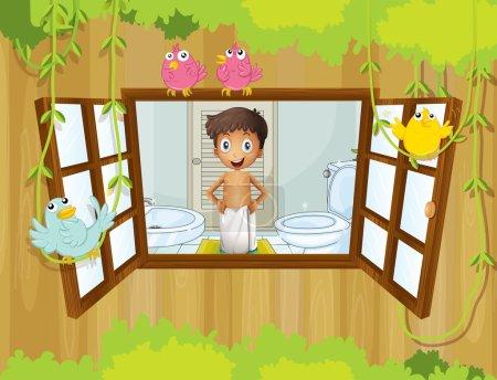 A boy with a towel inside the bathroom