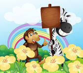 Opice a zebra na zahradu s prázdná deska