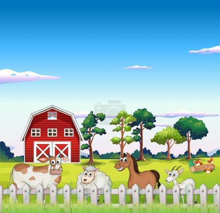 Illustration for Illustration of the animals inside the fence with a barnhouse at the back - Royalty Free Image