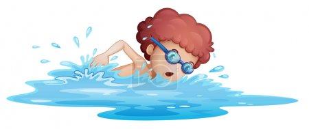 A boy swimming at the sea