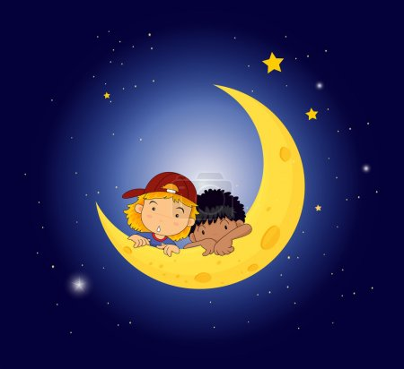 Illustration for Illustration of a moon with two kids - Royalty Free Image