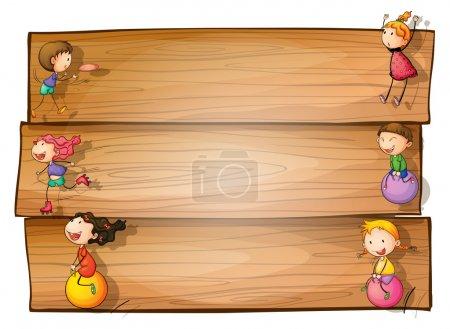 Illustration pour Illustration d'une enseigne en bois avec des enfants jouant sur un fond blanc - image libre de droit