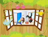 A girl and a boy exercising inside a room with birds at the wind