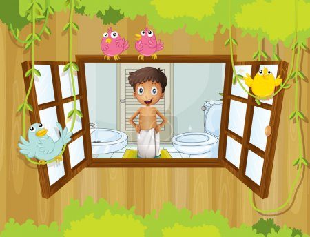 A boy with a towel at the comfort room watching the birds outsi