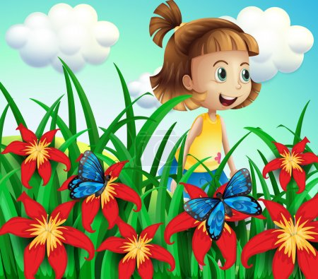 A small girl at the flower garden with butterflies
