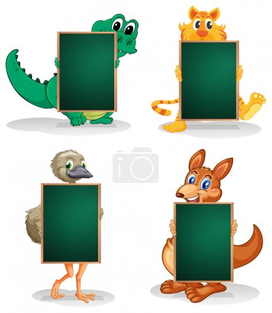 Four animals at the back of the empty blackboards