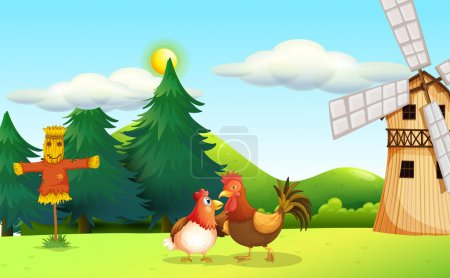 A hen and a rooster at the farm