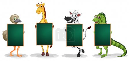 Four animals standing with empty boards