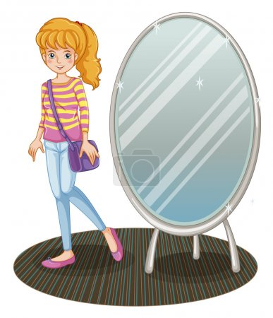 Illustration for Illustration of a girl beside a mirror on a white background - Royalty Free Image