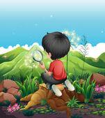 Chlapec nad pařez s lupou