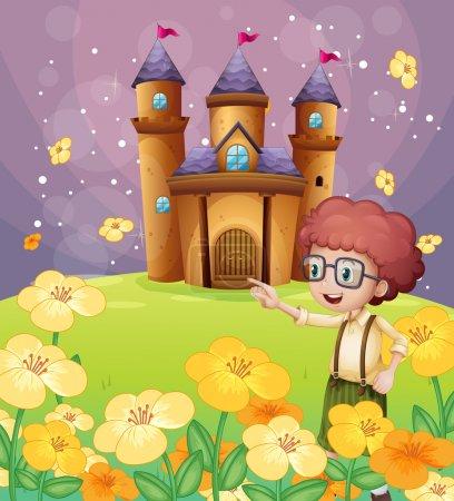 Illustration pour Illustration d'un garçon de près les fleurs dans la colline avec son château de pointage - image libre de droit