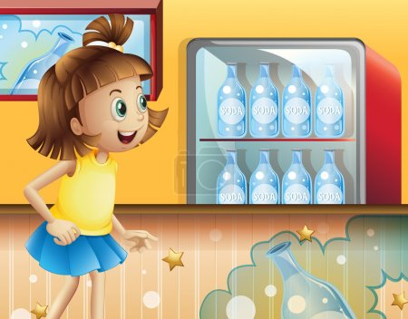 A happy young girl inside the store selling sodas