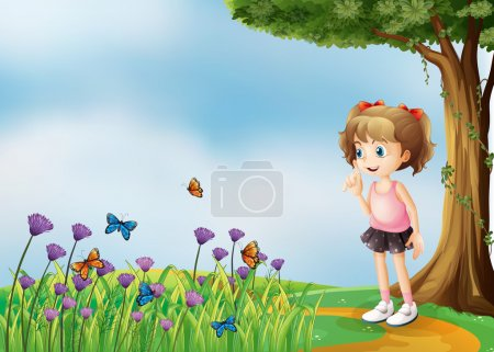 Illustration pour Illustration d'une petite fille au-dessus de la colline avec un jardin - image libre de droit