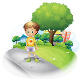 Illustration of a little boy at the road across the high buildings on a white background