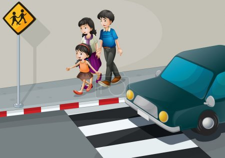 Illustration for Illustration of a family walking at the street - Royalty Free Image