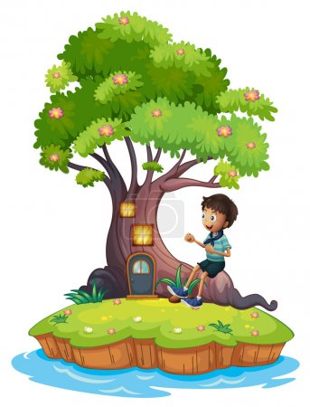 A boy sitting above the roots of a tree amazed by the treehouse