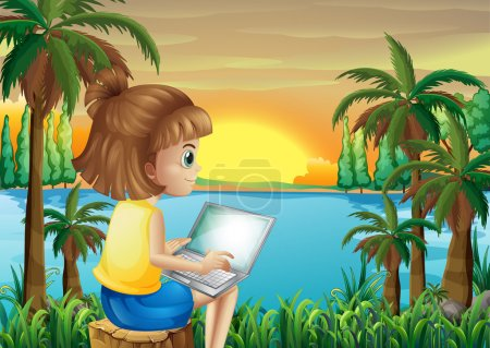 A girl using her laptop near the river