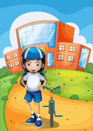A female biker standing in front of a school building