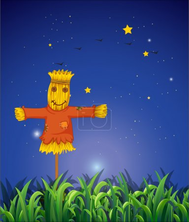 A field with a scarecrow