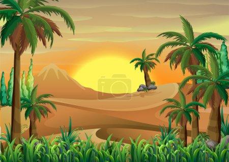 Illustration pour Illustration d'une forêt dans le désert - image libre de droit