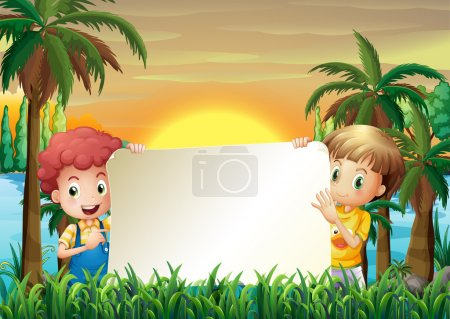 Illustration for Illustration of the two kids at the riverbank holding an empty signage - Royalty Free Image