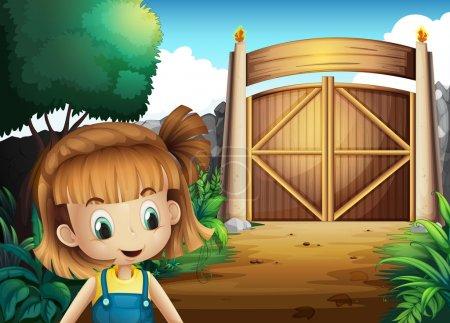 Illustration pour Illustration d'une jeune fille à l'intérieur de la cour fermée - image libre de droit