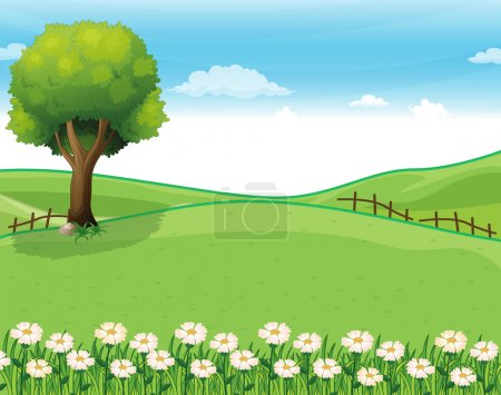 Illustration for Illustration of a hilltop with a garden and a giant tree - Royalty Free Image