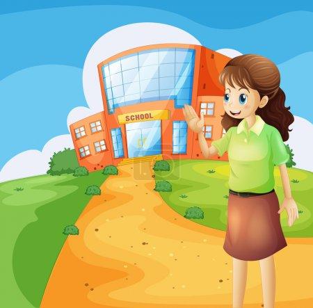 Illustration pour Illustration d'un enseignant devant le bâtiment de l'école - image libre de droit