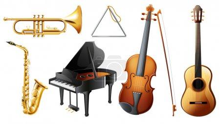 Illustration pour Illustration de l'ensemble des instruments de musique sur fond blanc - image libre de droit