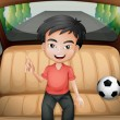 Illustration of a boy inside the car with a soccer...