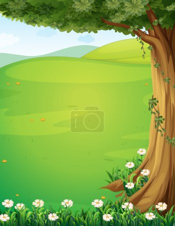 Illustration for Illustration of a view of the hills with a tree and flowers - Royalty Free Image