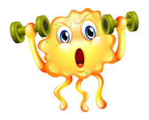 A cute monster exercising with dumbbells