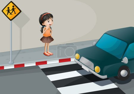 Illustration for Illustration of a little girl at the pedestrian lane - Royalty Free Image